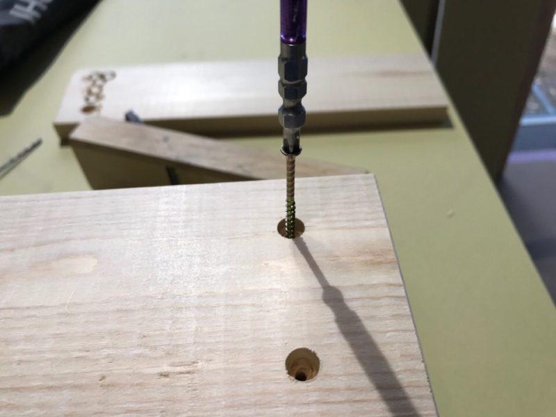 DIY ヒノキ 子供用スツール 下穴