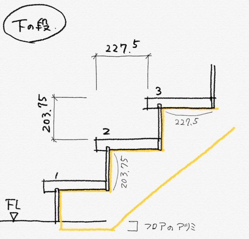 階段のささら桁と床との取り合い
