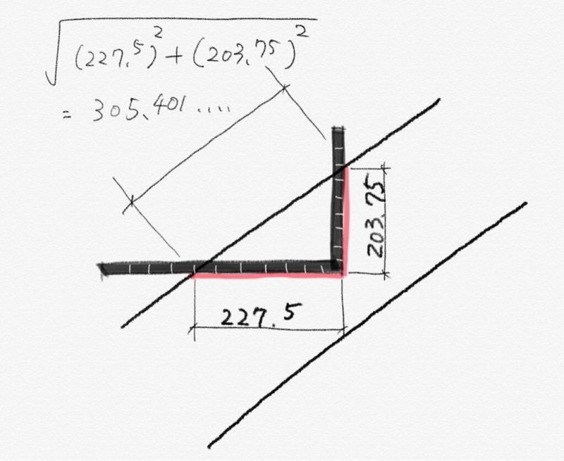 階段のささら桁の墨付けを楽にする計算方法