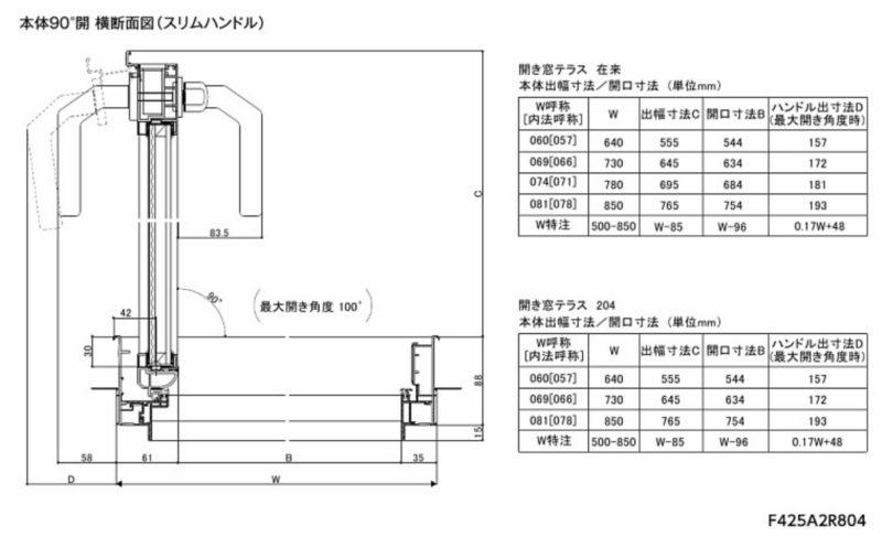 リクシル テラスドアのW寸法